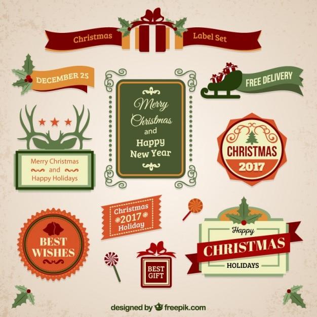 Christmas Vintage Labels Vector Free Download