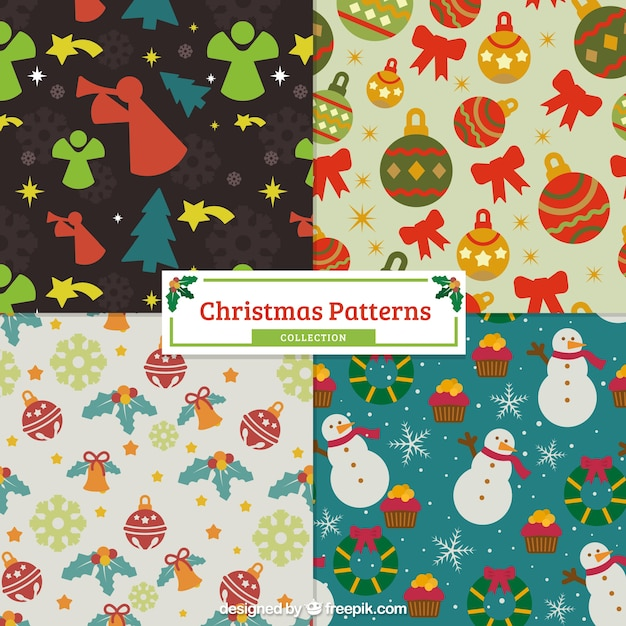 Christmas vintage patterns with elements Premium Vector