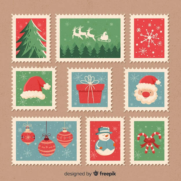 Christmas vintage stamps pack Free Vector