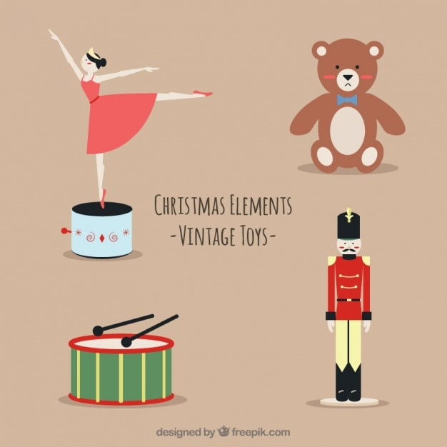 Christmas vintage toys Vector | Free Download