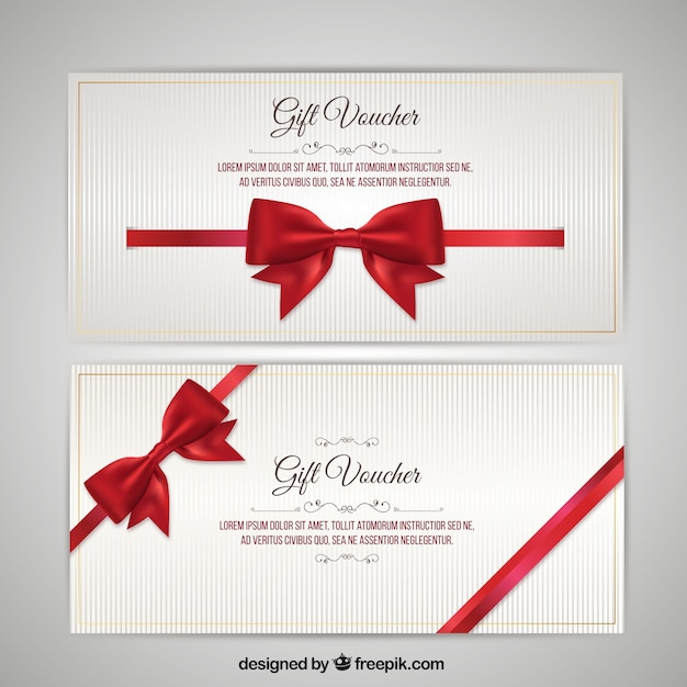 Christmas Voucher With Bow Pack Premium Vector  Christmas Gift Vouchers Templates