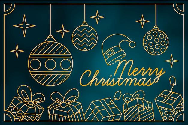 Рождественские обои в стиле контура Бесплатные векторы