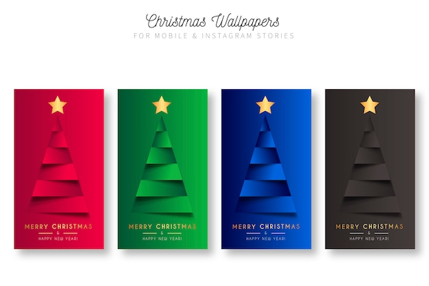 Christmas wallpapers for mobile & instagram stories Free Vector