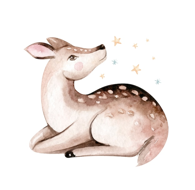Christmas watercolor deer. cute kids xmas fawn forest animal illustration Premium Vector
