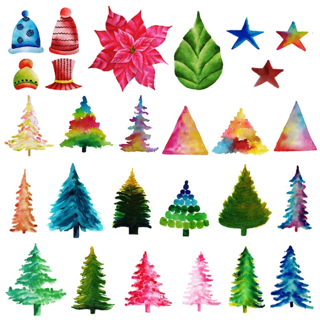 Christmas Watercolor Elements Collection Free Vector