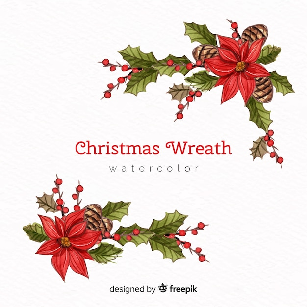 Christmas watercolor flowers Free Vector