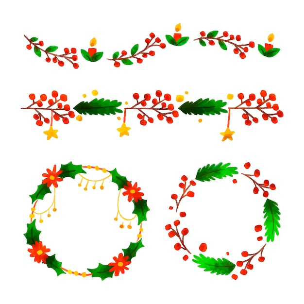 Christmas watercolor frames and borders Free Vector