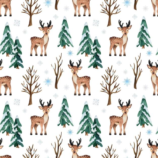 鹿と松の木とクリスマスの水彩画のシームレスなパターン Premiumベクター