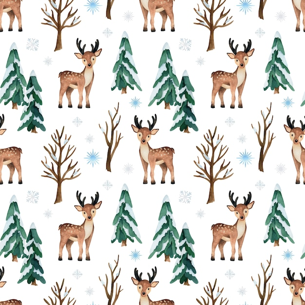 Christmas watercolor seamless pattern with deer and pine trees Premium Vector