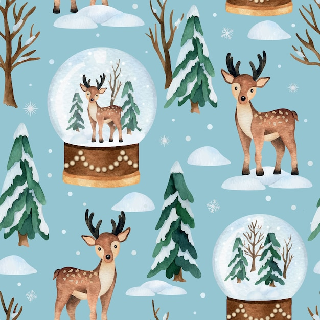 Christmas watercolor   seamless pattern with deer and snow globe Premium Vector
