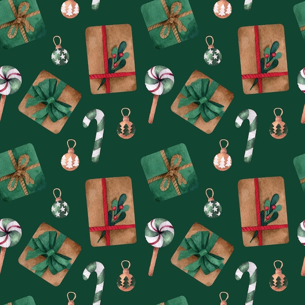 Christmas watercolor   seamless pattern with presents Premium Vector