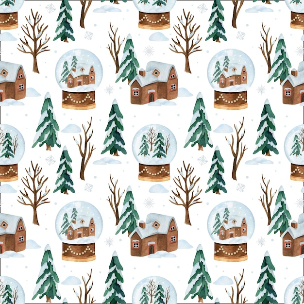 Christmas watercolor vector seamless pattern with snow globe Premium Vector