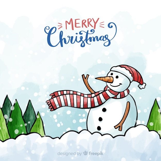 Christmas watercolor waving snowman background Free Vector