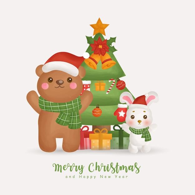 인사말 카드, 초대장, 종이, 포장, 크리스마스 트리와 크리스마스 요소와 크리스마스 수채화 겨울 프리미엄 벡터