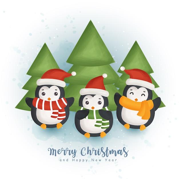 인사말 카드, 초대장, 종이, 포장, 크리스마스 디자인을위한 귀여운 펭귄과 크리스마스 요소와 크리스마스 수채화 겨울. 프리미엄 벡터
