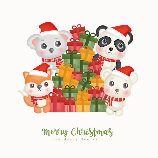 인사말 카드, 초대장, 종이, 포장 크리스마스 귀여운 동물과 Giftboxes와 크리스마스 수채화. 프리미엄 벡터