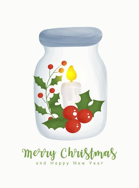 瓶の中のクリスマス要素とクリスマスの水彩画.. Premiumベクター