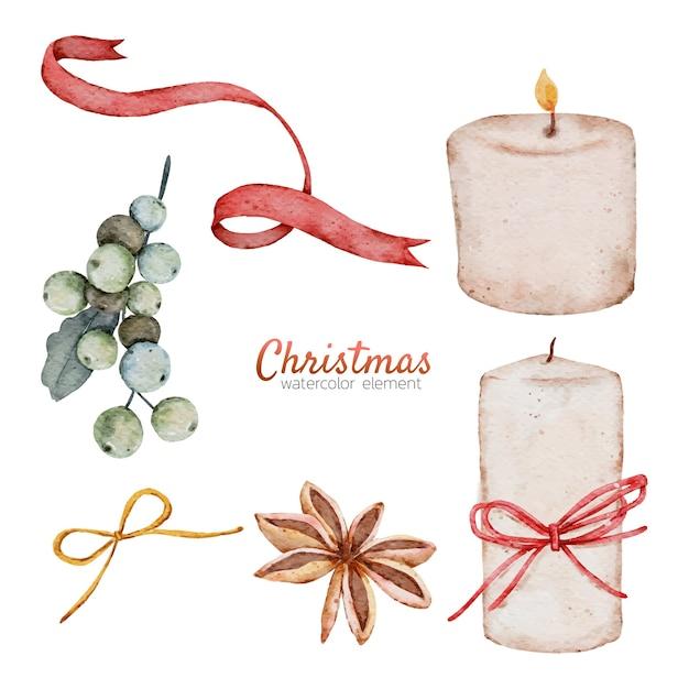 クリスマス水彩要素手描き Premiumベクター