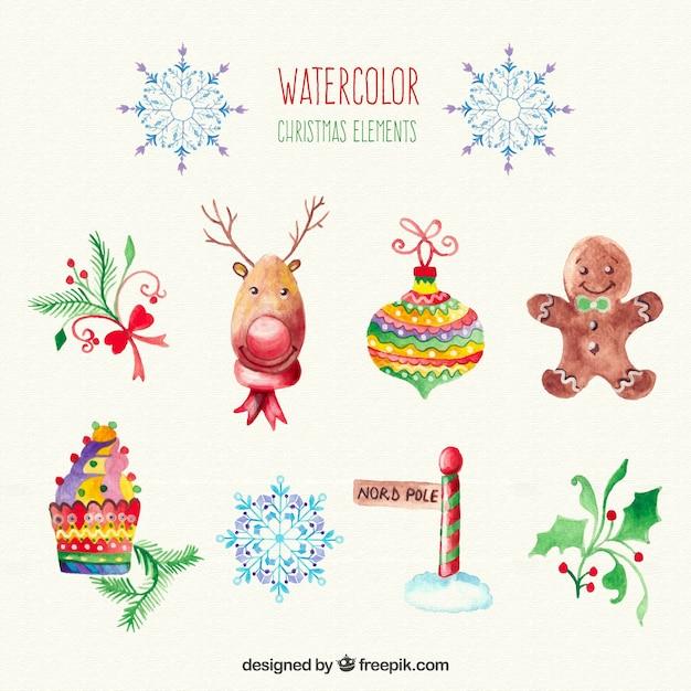 Four Elements Watercolour Artist Tuffytats: Christmas Watercolour Elements Vector