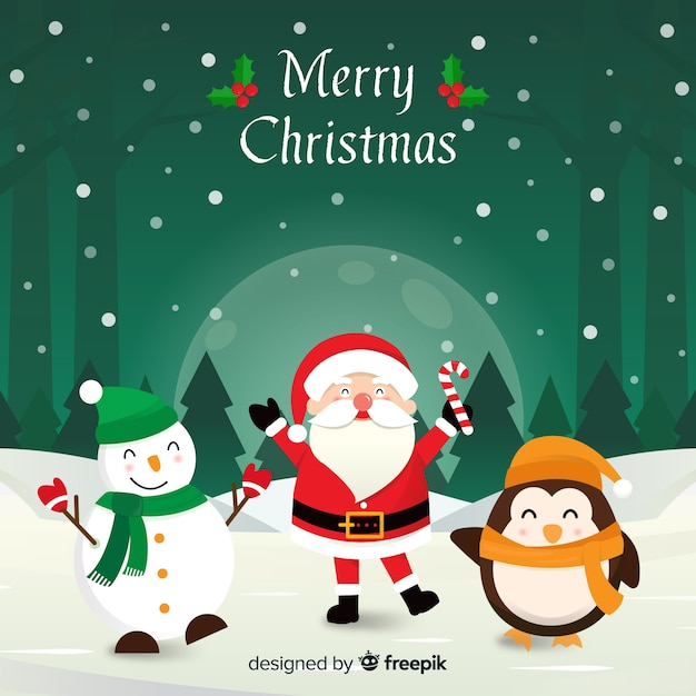 Christmas waving characters ilustration background Free Vector