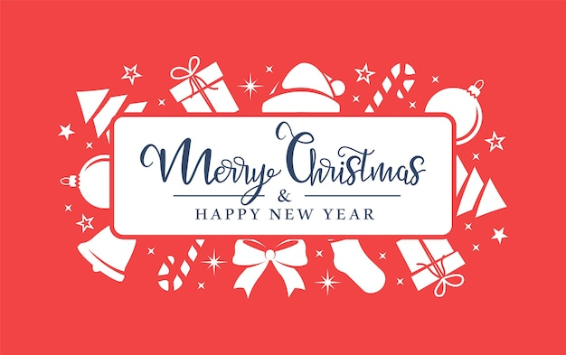 크리스마스 흰색 기호는 빨간색 배경에 무작위로 정렬됩니다. 프리미엄 벡터