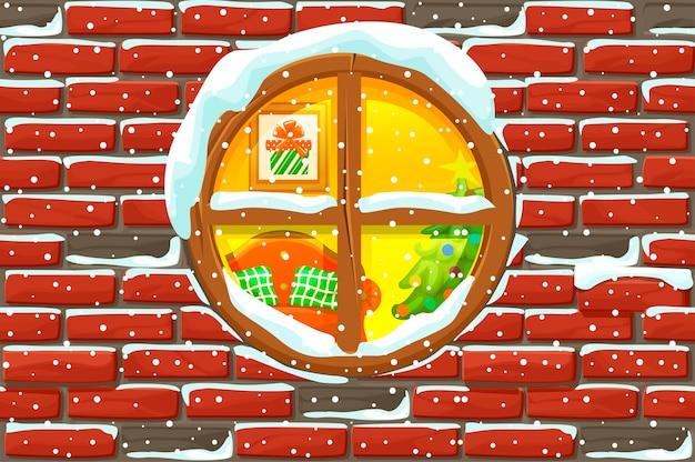 石の壁のクリスマスウィンドウ。メリークリスマスの休日。年末年始とクリスマス休暇。イラストの背景 Premiumベクター