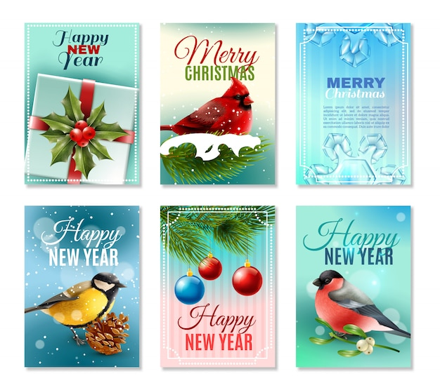 Christmas winter cards set Free Vector