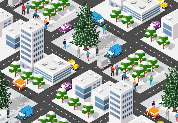 Christmas winter city graphic  holiday Premium Vector