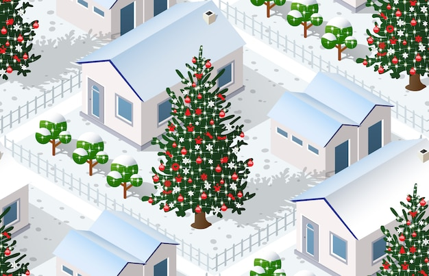 Christmas winter city graphic  holiday Premium Vector