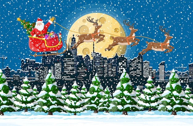 Christmas winter cityscape illustration Premium Vector