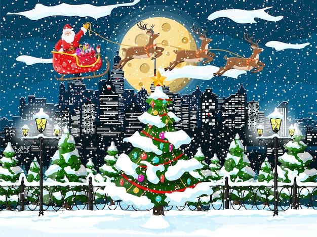 Christmas winter cityscape Premium Vector