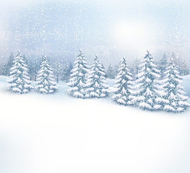 クリスマスの冬の風景の背景。 Premiumベクター