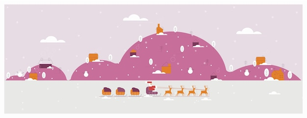 Christmas winter landscape banner purple color of rural winter with santa claus father christmas with presents on reindeer  sleigh through the snow Premium Vector