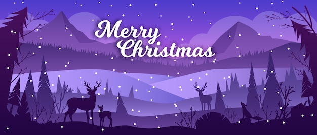 山、雪、トナカイのシルエット、松の木とクリスマスの冬の風景。休日の背景 Premiumベクター