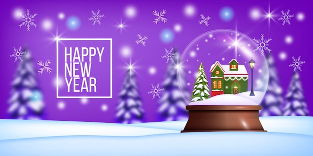 松林の輪郭、家、雪片、鹿のシルエットとクリスマスの冬の風景。もみ、建物と白と赤のクリスマスの休日の背景。伝統的な冬の風景はがき Premiumベクター