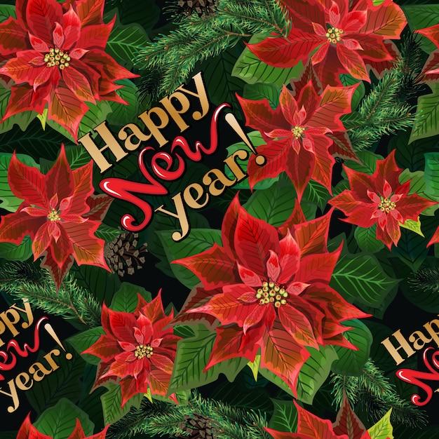 Christmas winter poinsettia flowers seamless background Premium Vector