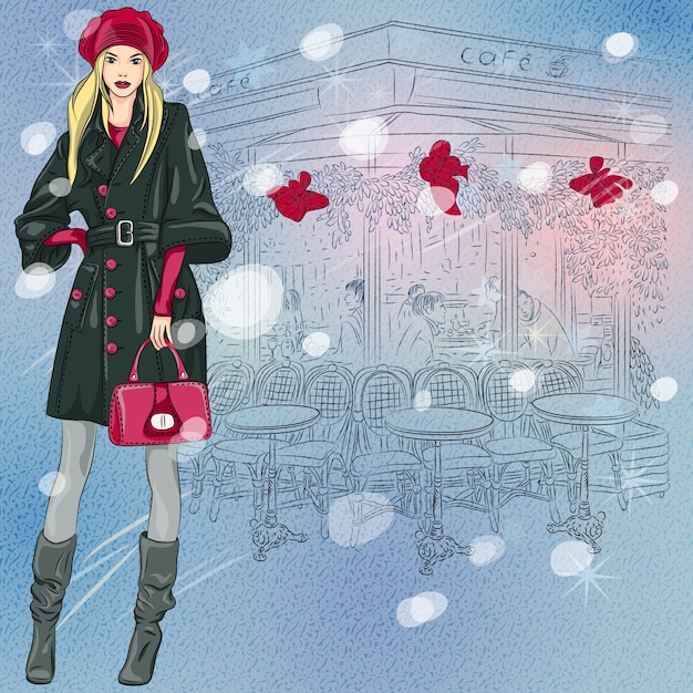 Christmas winter sketch of the beautiful fashionable girl near the parisian cafe with christmas decorations Premium Vector