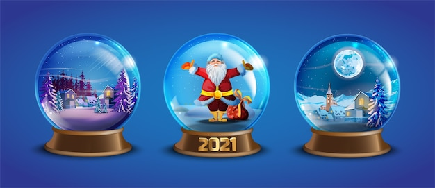 Christmas winter snow ball collection with decorated village houses, pine trees, santa claus. x-mas glass globe set with small landscape. holiday crystal snow balls souvenir illustration Premium Vector