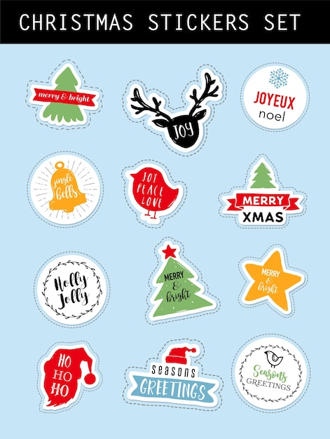 Christmas winter stickers set with lettering Premium Vector