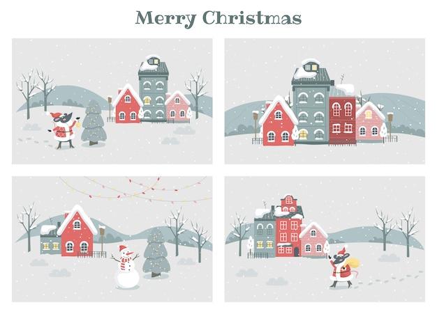 EPS ảnh vẽ cảnh các ngôi nhà trong mùa đông có tuyết rơi xinh xắn