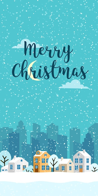 Рождественский зимний вертикальный пейзаж с домиками. снежная вечерняя деревня. иллюстрация для смартфонов Premium векторы