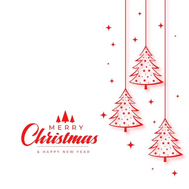 Рождественская открытка с елкой в стиле линии Бесплатные векторы