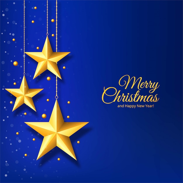 Christmas with golden star on blue background Free Vector