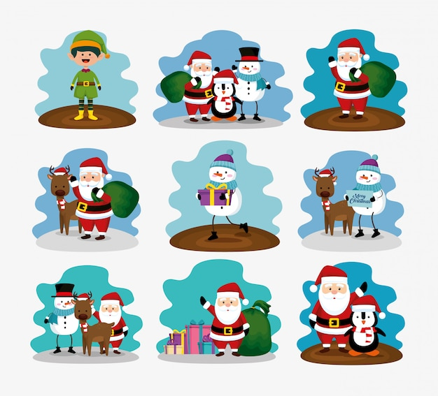 Christmas with reindeer and set characters Free Vector