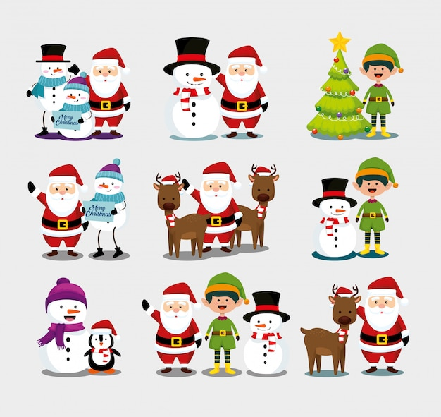 Christmas with santa claus and characters set Free Vector