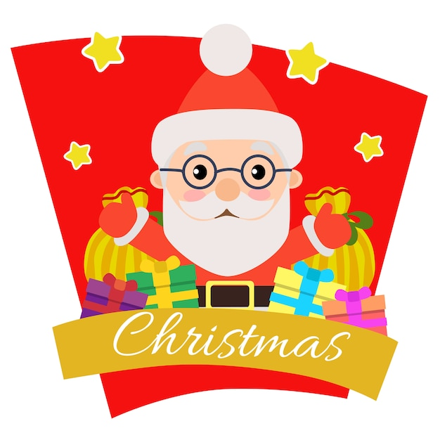 Christmas with santa claus gift sack Premium Vector