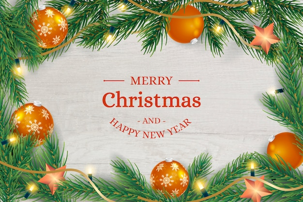 Christmas wooden frame background with tree branches and balls Free Vector