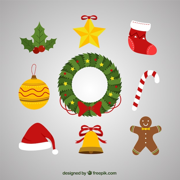 Christmas Wreath And Pretty Christmas Decoration Vector Free Download