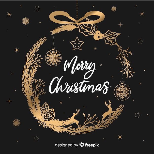 Christmas wreath background Free Vector