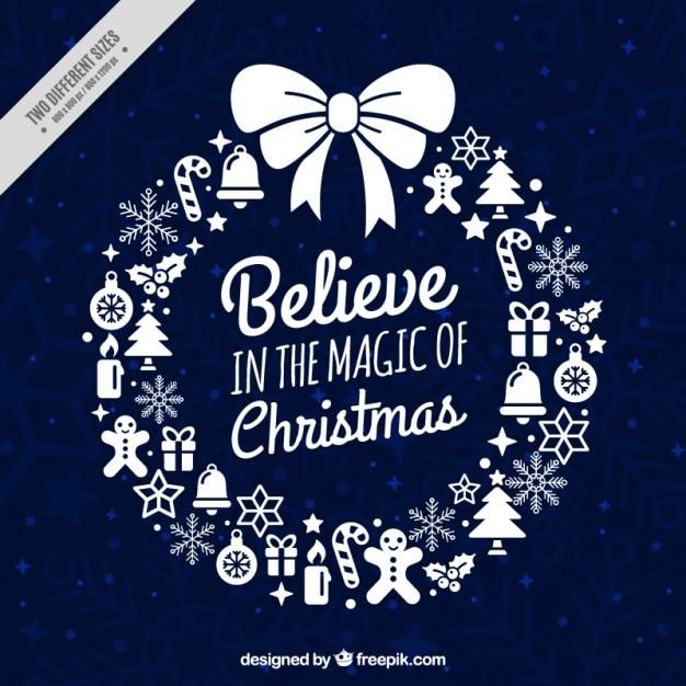 Рождественский венок карты с вдохновляющим сообщением Premium векторы
